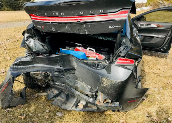 Smashed Lincoln MKZ hit from behind