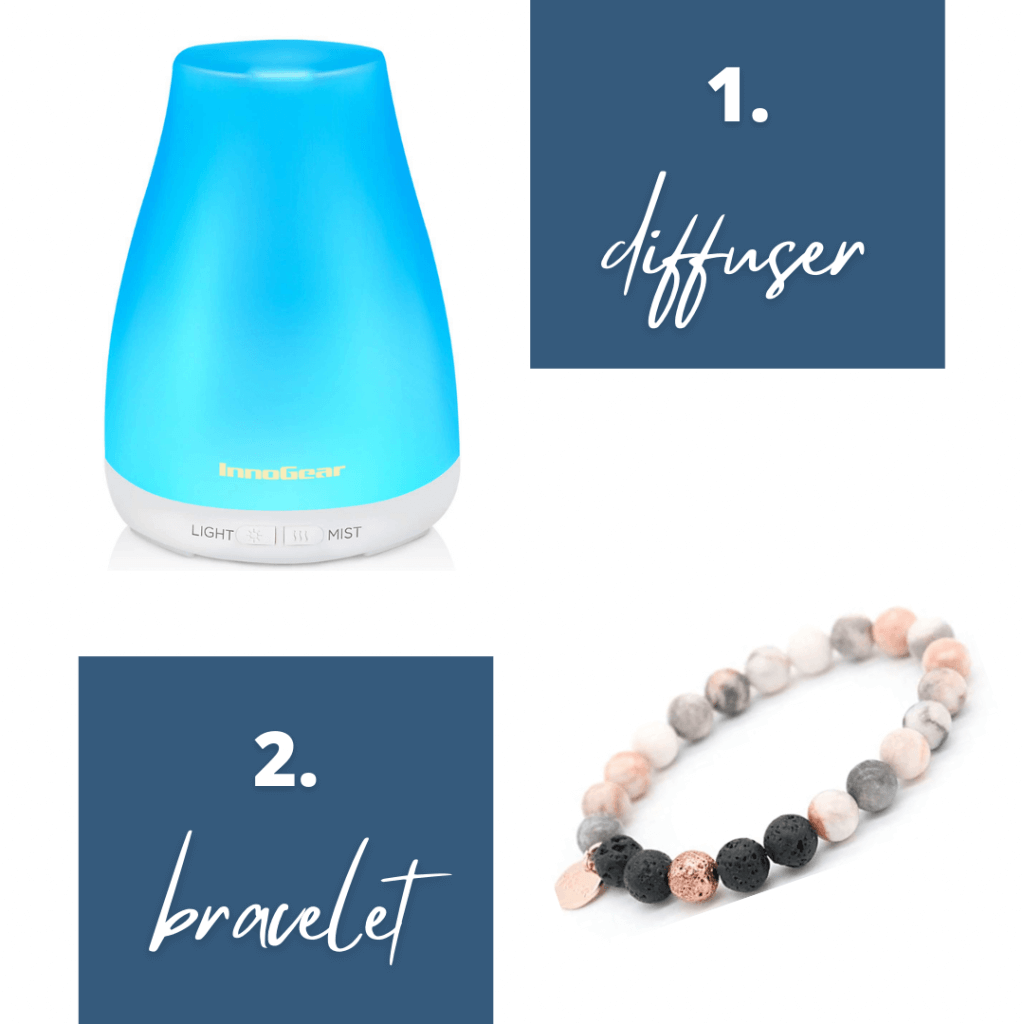Picture of essential oil diffuser and lava rock bracelet as gift ideas for new widows