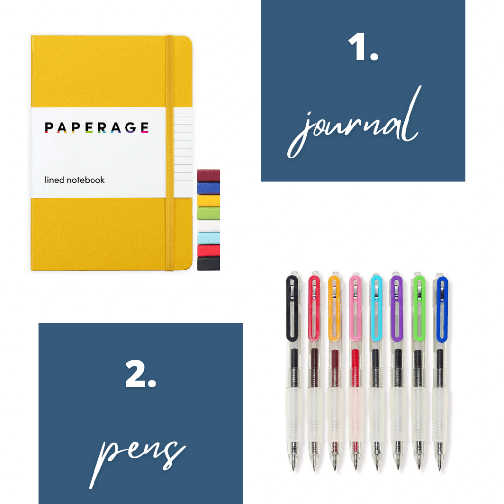 Picture of lined journal and gel pens as gift ideas for new widows