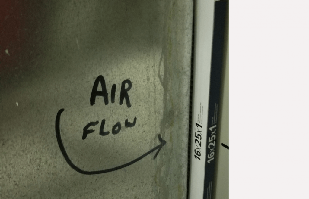 Air filter air flow for home maintenance