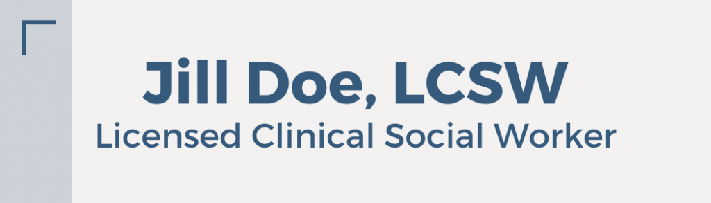 Jill Doe, Licensed Clinical Social Worker nameplate