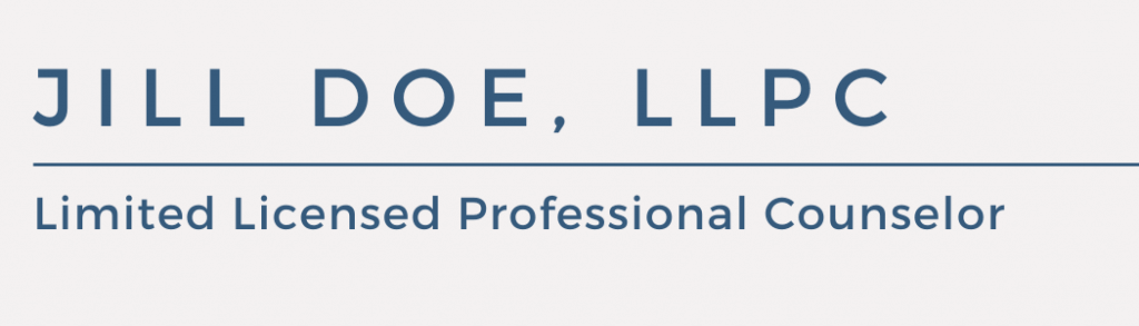 Jill Doe, Limited Licensed Professional Counselor nameplate