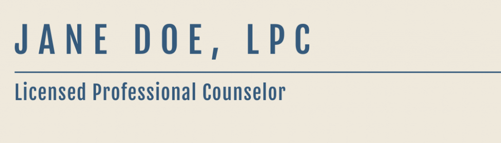 Jane Doe, Licensed Professional Counselor nameplate