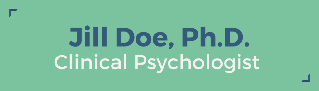 Jill Doe, Ph.D., Clinical Psychologist nameplate