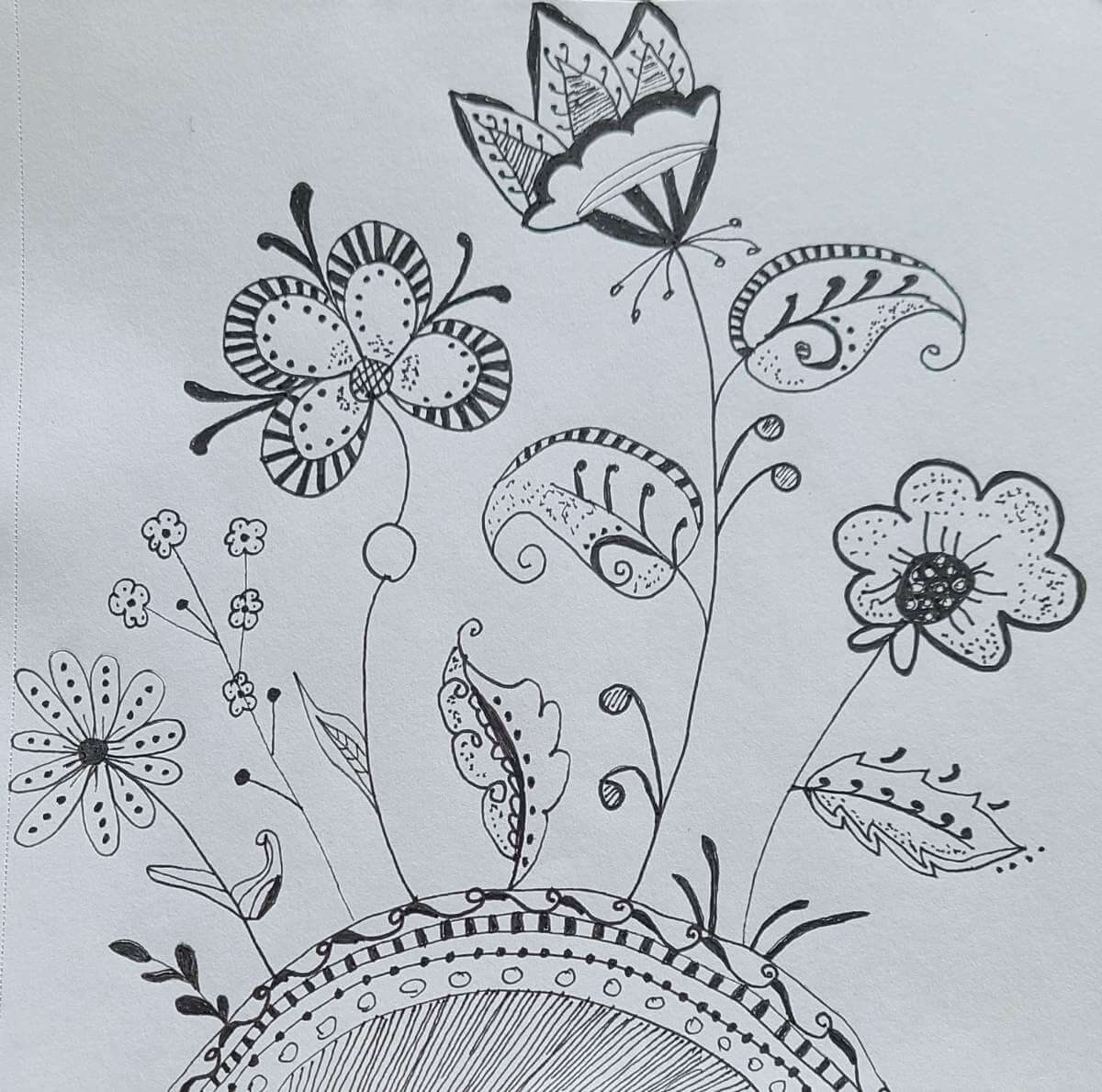 A Zentangle flower pattern