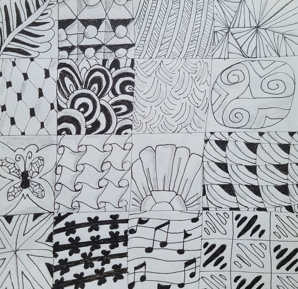 Zentangle patterns displaying an unusual way to reduce your anxiety