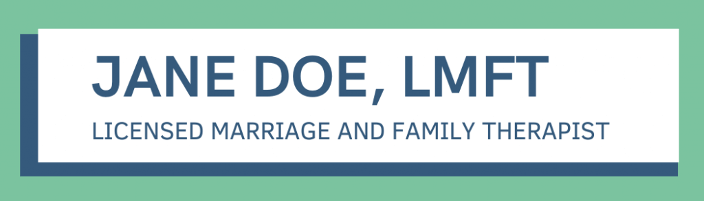Jane Doe, Licensed Marriage and Family Therapist nameplate